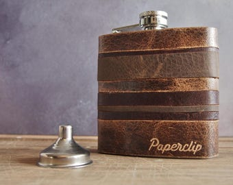 Custom Leather Flask, Personalized hip flask for men, rustic leather flask, engraved leather hip flask, boyfriend hip flask, vintage style