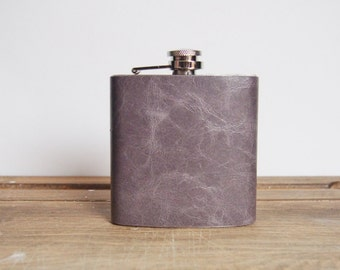 Wolf Leather Flask, Soft Gray Genuine Leather, Recycled Leather Strips, Hand Engraved, limited edition, perfect for weddings, christmas
