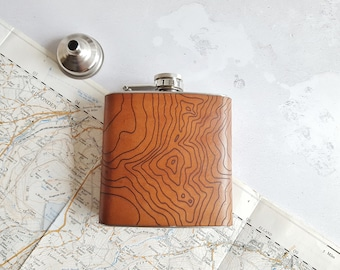 Custom Topographic Map Flask, Leather Hip Flask, Personalised Leather Whiskey Bottle  topography gift hiking flask mountain climbing gift
