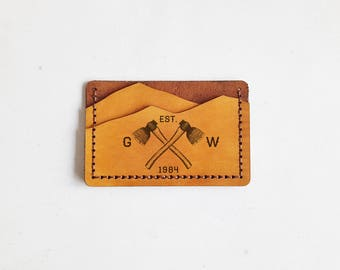 Lumber Jack Wallet, Personalised leather card holder, hand stitched wallet, camping gift, mountain man wallet boyfriend card holder