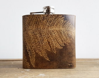 Leaf Leather Hip Flask, Fern leaf, Botany Illustration, red brown leather, Birthdays, Weddings, Christmas Gift