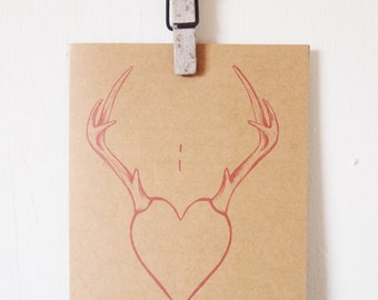 I 'Hart' You Greeting card, love heart antler, I heart you, hunting, mountain stationary, quirky illustration