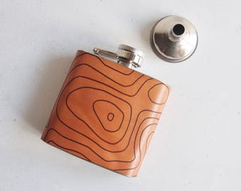 Topographic Map Hip Flask, Scafell Pike Flask, Personalized Mountain Whiskey Bottle  topographic gift hiking flask mountain climbing gift