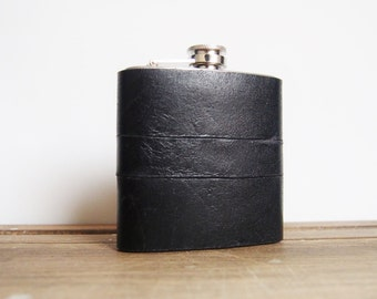 Winter Smoke, Black Leather Flask, Personalized Recycled Leather Strips, Hand Engraved, perfect for weddings, christmas