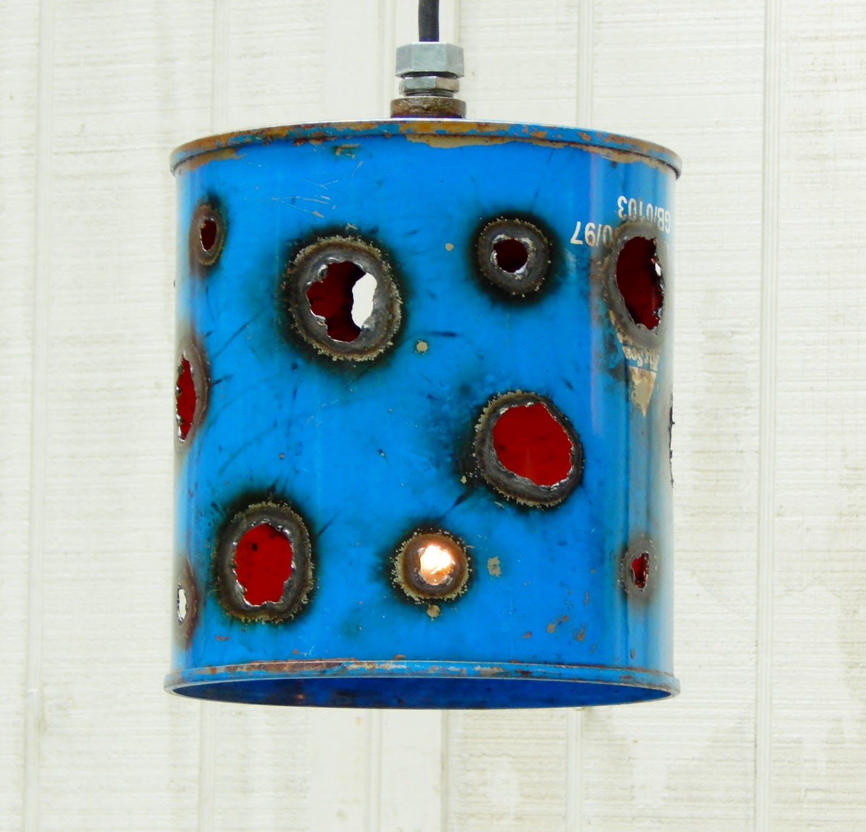 Funky Rustic Galvanized Pendant Light Via Etsy: Blue Bucket LIghts Funky Hanging LIghts Pendant LIght