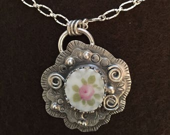 Rose China Shard Necklace