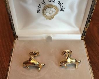 Arts of the World Vintage Cufflinks in Original Presentation Box Malachite Cuff Links from SWANK