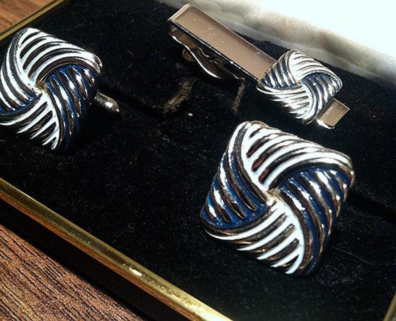 Rare Original Vintage SWANK Fashion Tones Turban Knot Cufflink Set