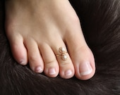Genuine White Howlite and 14K Gold Wire Wrapped Adjustable Ring Toe Ring