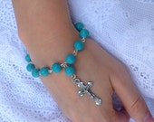 Genuine Turquoise and Sterling Silver Rosary Bracelet with Crucifix