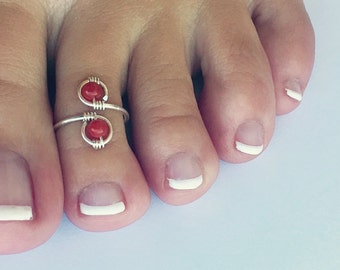 Genuine Sterling Silver and Red Coral Vibrant Ring/Toe Ring