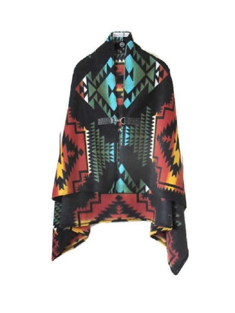 802028e9a6f7a Poncho Black Panther Style Native American Print Shawl