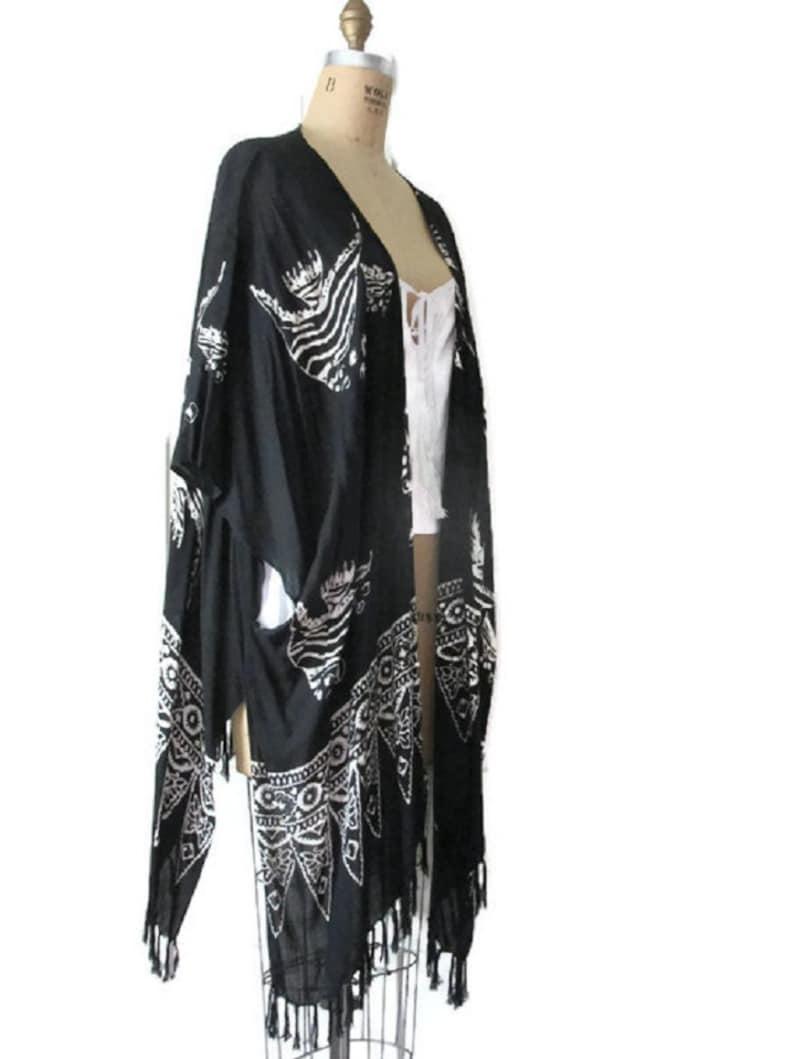 Oceana Kimono Style Jacket Top Women Clothing Graduation Cruise Vacation Beach Pool Gifts Black White