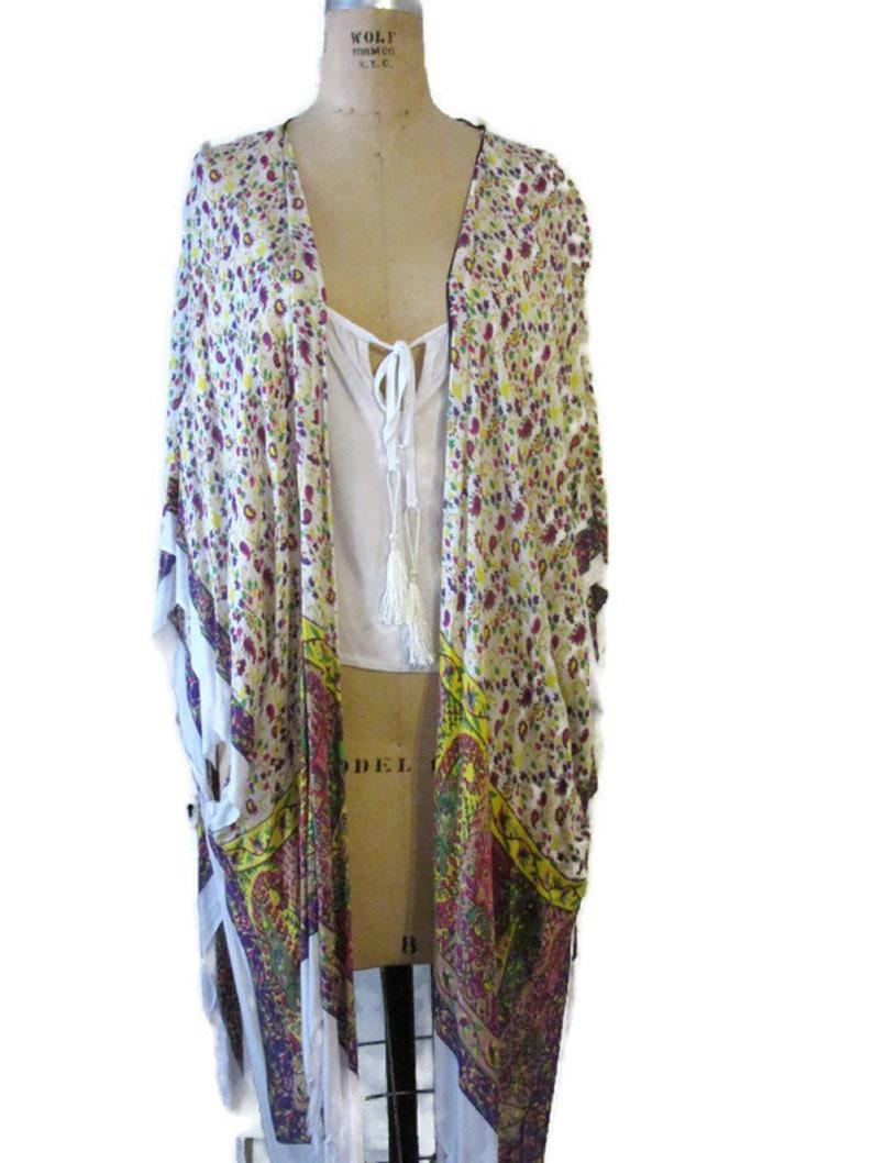 Floral Burgundy Boho Beach Cover Up Kimono Poncho White Multi color One Size