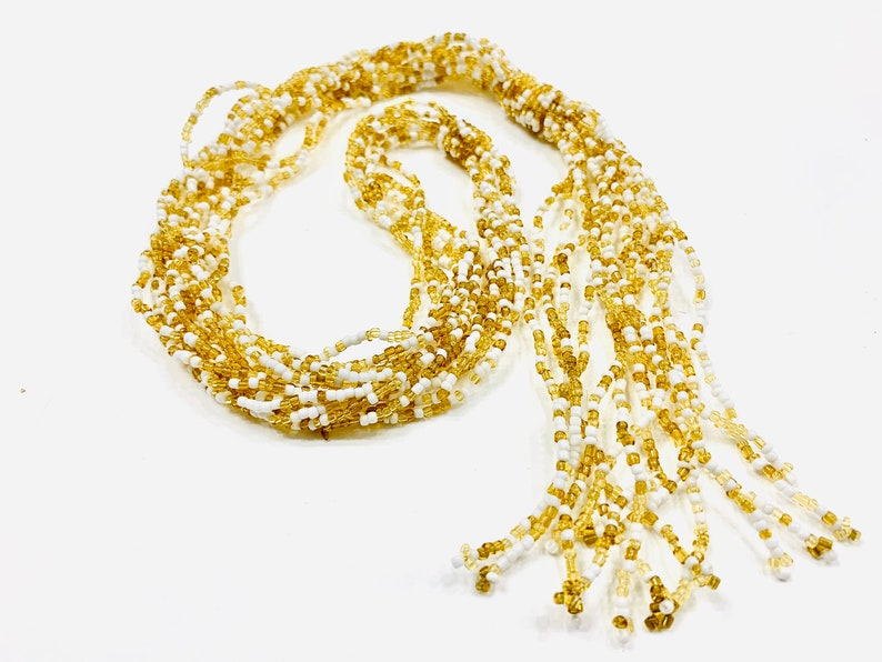 Gold White Multi Strand Bead Necklace Seed Bead Tassel Necklace Vintage Jewelry Spring Summer Jewelry Mother/'s Day Gift for Her