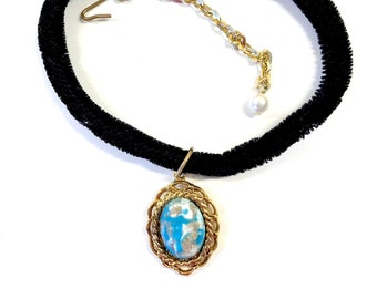 Velvet Choker - Faux Turquoise Necklace - Boho Jewelry - Bohemian Necklace - Costume Jewelry - Vintage Jewelry Hippie Jewelry - Gift for Her