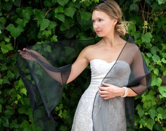 Black organza shawl wrap shrug wedding dress 387d82f796e7