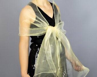 Organza light golden gold color wrap shawl bolero Winter wedding shrug  elegant accessory 200 cm b40378c7093a