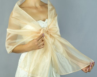 272b3b47684f Luxury Organza wrap shawl bolero Winter wedding 200 cm Champagner Beige  light gold coffee