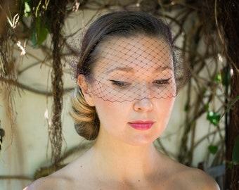Burgundy Birdcage veil / russian veil / elegant , simple and classical bridal veil birdcage headpiece clip fix  / couture bride purple red