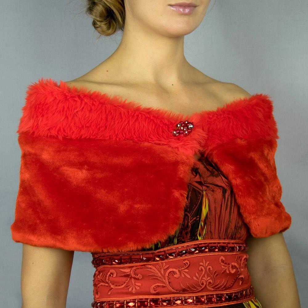 1d00ab3a48f Vison Chal Estola Capa bolero de novia boda pluma color rojo