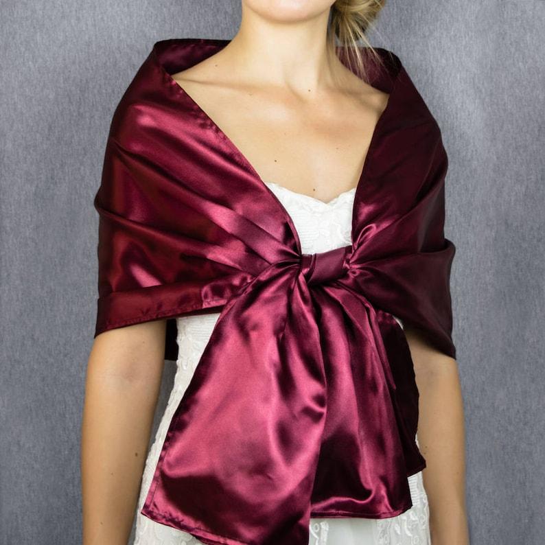 5dbed73c607b Burgundy wine satin wrap shawl bolero wedding shrug elegant | Etsy