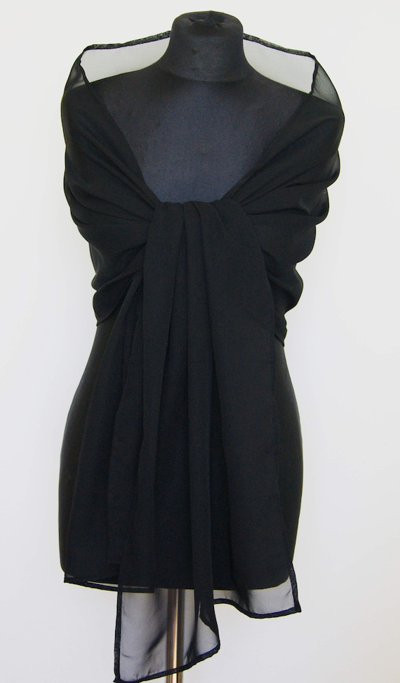 New York chiaro e distintivo grande vendita Stola in chiffon nero scialle Coprispalle Abito da sposa scrollata di  spalle, 200 cm x 48 cm, migliori chiffon, facile da adattarsi a qualsiasi  stile