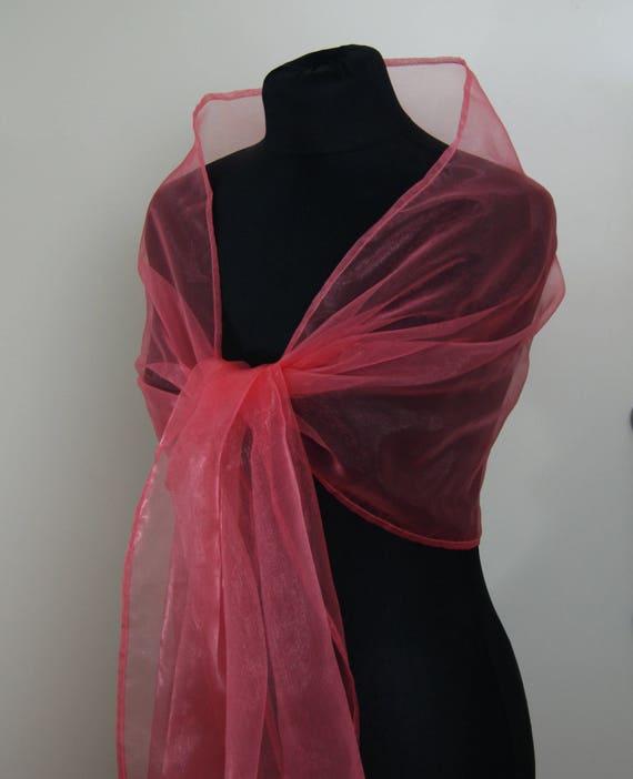 2dce9130ff31 Peach Pink Rose Organza wrap shawl bolero Winter wedding shrug | Etsy
