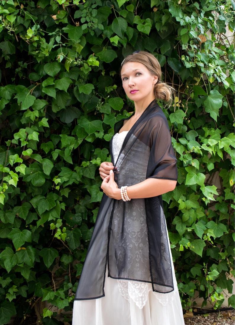 new product aef16 e0b3f Stola in chiffon nero scialle Coprispalle Abito da sposa scrollata di  spalle, 200 cm x 48 cm, migliori chiffon, facile da adattarsi a qualsiasi  stile
