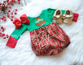 ea7224c3ef98 Baby's First Christmas Romper, baby christmas outfit, Holiday dress,  Holiday Romper, Baby Christmas Dress, Plaid christmas romper