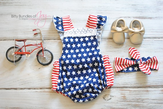 e9d30c51b9e Fourth of July Romper Patriotic Outfit Independence Day