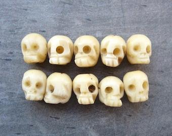 Hand Carved Ox Bone Skull Beads x 10