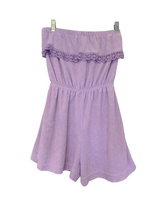 Lavender terrycloth romper