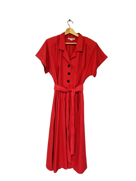 Red Belted  A-line Dress