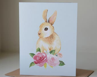 Easter Card, Easter Bunny Card, Christian Easter, Easter Cards, Bunny Card, Spring Card, Easter Greeting, Eater Bunny Cards, Watercolor