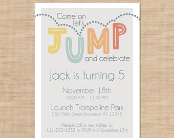 Jump Party, Jump Party Invitation, Bounce House Party, Trampoline Party, Bounce Party, Trampoline Park Party, Trampoline Invite
