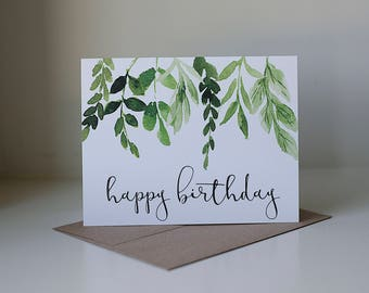 Happy Birthday Card Ivy Watercolor Pretty Simple Neutral Leaves And Stems