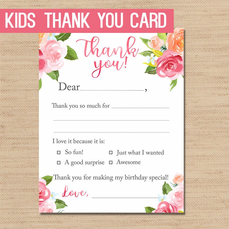 image relating to Printable Thank You Cards named PRINTABLE Thank Yourself, Youngsters Thank Oneself Playing cards, Female Thank Yous, Children Thank Yourself Card, Stationery For Youngsters, Fill in just the Blank Thank Oneself, Floral
