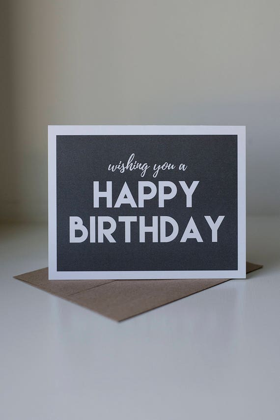 Happy Birthday Card Black And White Neutral