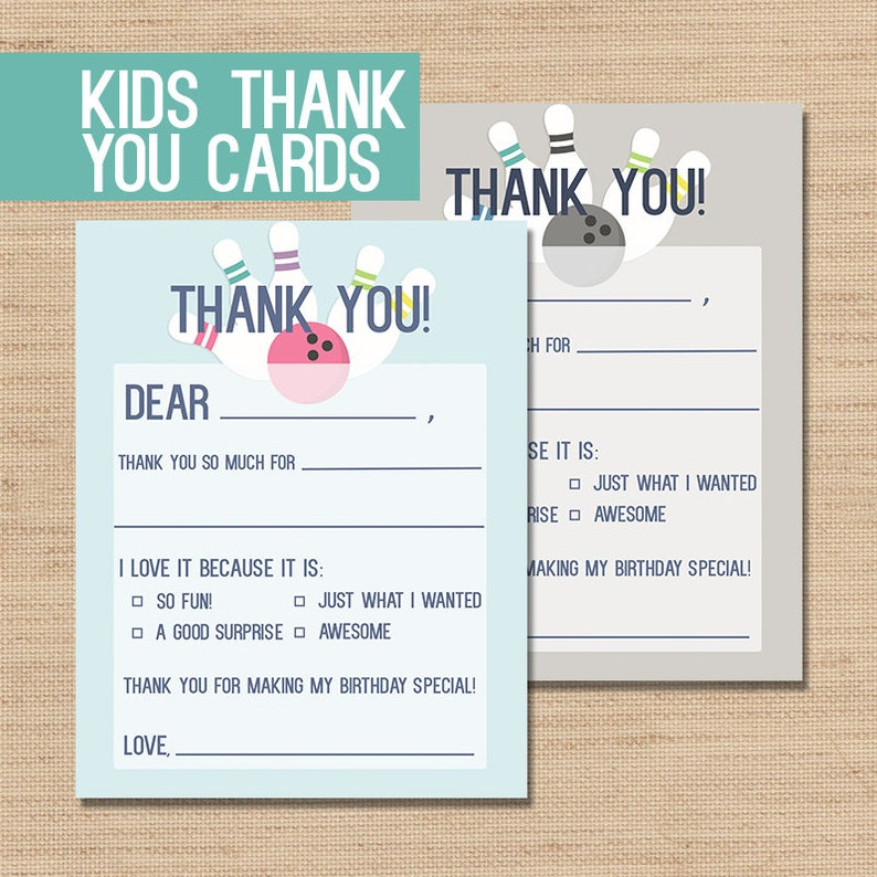 photograph regarding Fill in the Blank Thank You Cards Printable named PRINTABLE Thank Oneself, Youngsters Thank Yourself Playing cards, Small children Bowling Thank Yous, Small children Thank By yourself Card, Stationery For Young children, Fill in just the Blank Thank Your self