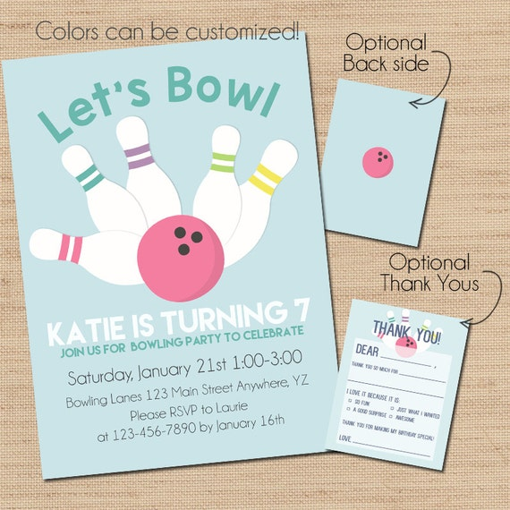 bowling birthday invitation print your own invitation etsy