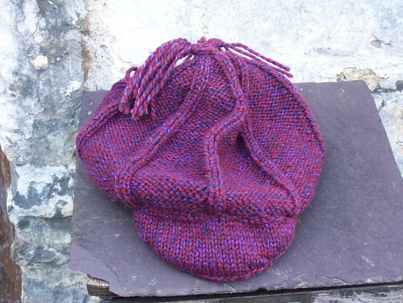 07802fa3f2ee0 HAND KNITTED Baker Boy Hat and Scarf Set Ready to Ship