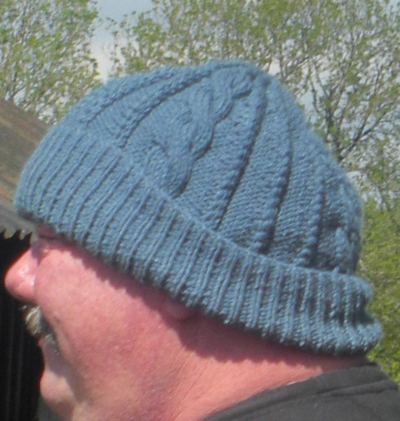 Will be made to order HAND KNITTED Gents Traditional Aran Hat