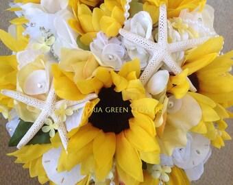 Hydrangea Sea Grasses Shells Pearls and Diamonds Fancy Handle Wrap Seaside Bridal Bouquet with Dogwood