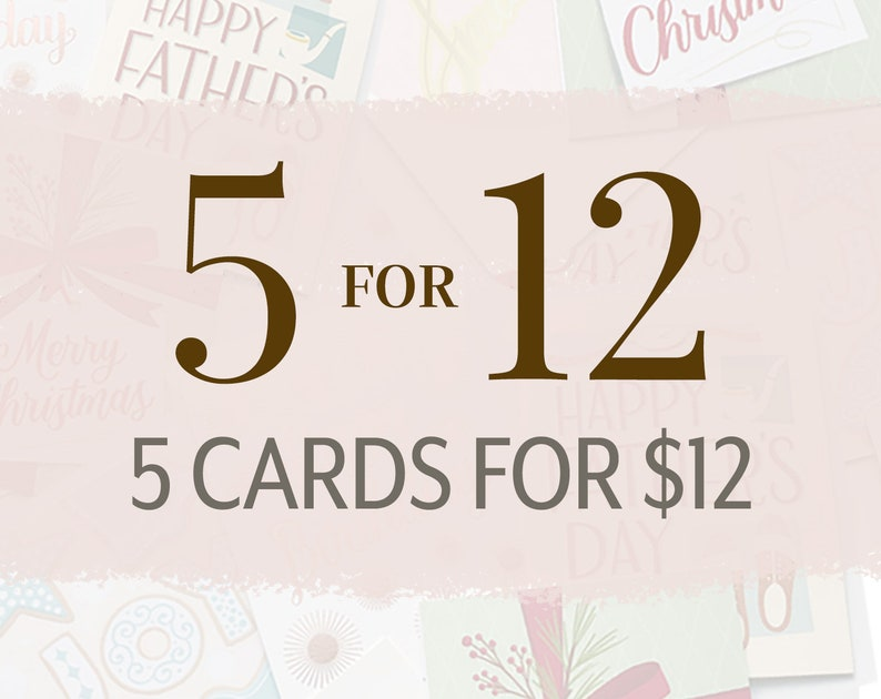 Card Set of 5  Pick Any 5 Cards of Your Choice for a Custom image 0