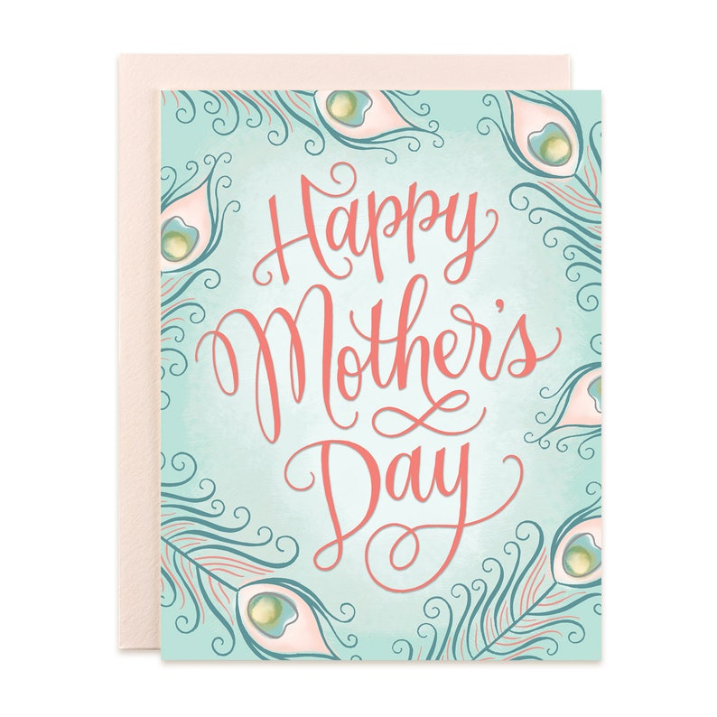 Happy Mother's Day Peacock Feathers Card image 0
