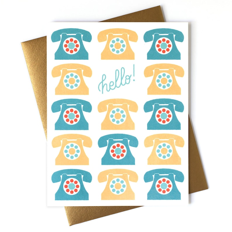 Hello Rotary Phones Greeting Card  blank inside image 0
