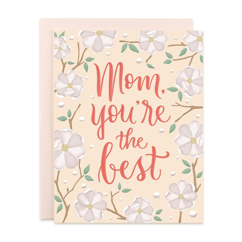 Mom You're the Best Floral Card image 0
