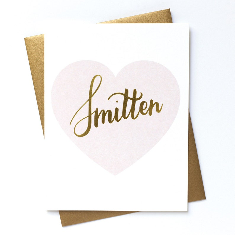 Smitten  Gold Foil Stamped Greeting Card image 0
