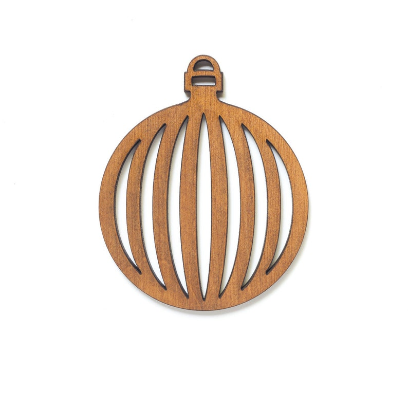 Round Bauble Ornament  Retro Collection  Laser Engraved Wood image 0